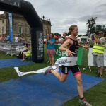 Crossing the finishing line at Castle Howard